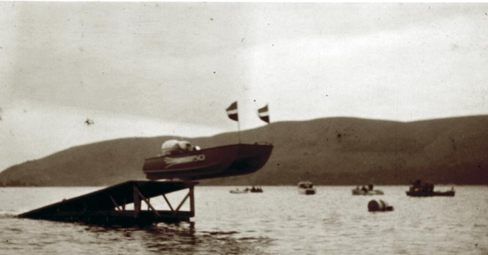 Hentie van Rooyen jumping his home-built ski ramp on the Knysna Lagoon - 1960