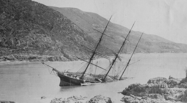 Paquita, wrecked in Knysna in 1903, and now featuring in Martin Hatchuel's children's novel, 'It's a pity I didn't bring any swords'